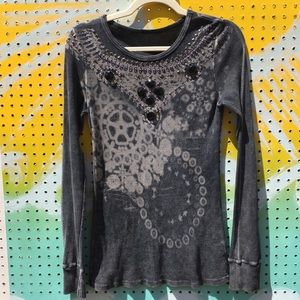 Tops - Blinged out Thermal top| Size:L